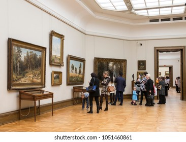 MOSCOW, RUSSIA - MARCH 20, 2018: Visitors to the hall of the famous Russian artist Shishkin in the Tretyakov gallery, Moscow, Russia