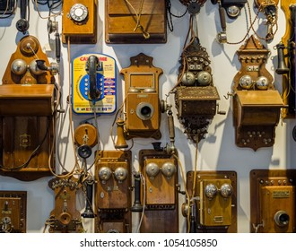 MOSCOW, RUSSIA - MARCH 20, 2018: Collection of old obsolete telephones exhibits in the museum of the telephone history on March 20, 2018 in Moscow, Russia.