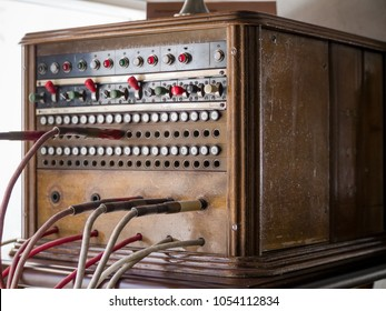 MOSCOW, RUSSIA - MARCH 20, 2018: Old obsolete hotel switch Kungliga Telegrafverkets Verkstad exhibits in the museum of the telephone history on March 20, 2018 in Moscow, Russia.