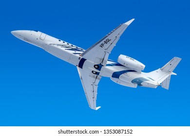 Moscow, Russia - March 20, 2019: Aircraft Embraer EMB-135BJ Legacy VP-BGL of Sirius-Aero takes off at Vnukovo airport in Moscow on a blue sky background at sunny morning