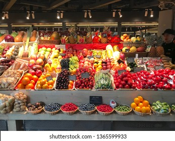 "Moscow / Russia - March 20 2019: A counter with vegetables and fruits in the food court space ""Depot""."