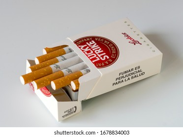 MOSCOW, RUSSIA - MARCH 20, 2020: Lucky strike cigarette box on a light background. Editorial illustrative image