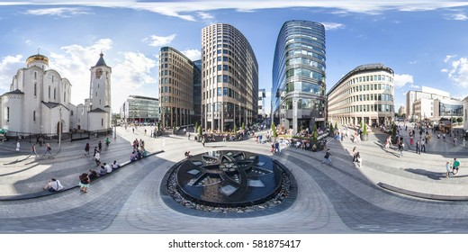 Moscow, Russia - March, 2014: Full 360 degrees panorama in equirectangular spherical projection of Business - center and a church near the station. VR content