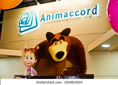 Moscow, Russia - March, 2018: Animaccord logo on the wall. Animaccord Animation Studio is russian studio which produces animated films such as Masha and The Bear
