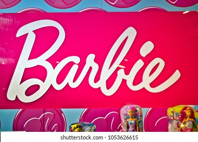Moscow, Russia - March, 2018: Barbie sign in Hamleys store. Barbie is a fashion doll manufactured by the American toy company Mattel