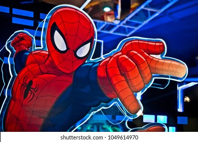 Moscow, Russia - March, 2018: Close up face of famous super hero spiderman in the shop printed on paper. Spider-Man is a fictional superhero in American comic books published by Marvel Comics