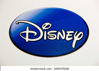 Moscow, Russia - March, 2018: Disney logo sign printed on banner. The Walt Disney Company, commonly known as Disney, is an American mass media and entertainment company