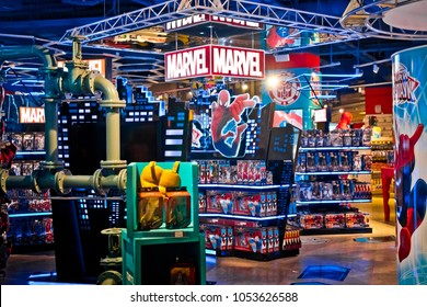 Moscow, Russia - March, 2018: Interior of Marvel toys department in Hamleys store. Marvel Comics Group is a publisher of American comic books and related media