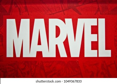 Moscow, Russia - March, 2018: Marvel logo sign printed on banner. Marvel Comics Group is a publisher of American comic books and related media