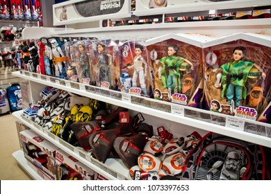 Moscow, Russia - March, 2018: Star wars heroes toys in Disney store in Moscow, Russia