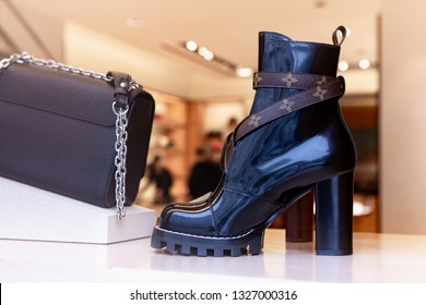 Moscow, Russia - March, 2019: Black High Leather Boot From New Louis Vuitton Collection With VL Logo. Luxury Store Louis Vuitton In Moscow.