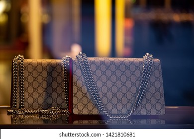 Moscow, Russia - March, 2019: Fashion Week Gucci shopping. Luxury Leather Handag In Store Gucci In Moscow.