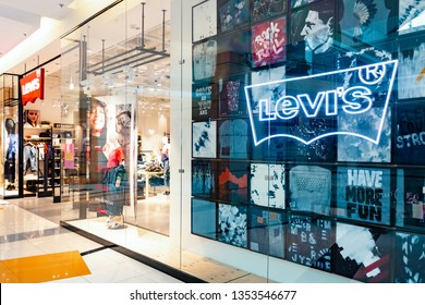 Moscow, Russia - March, 2019: The Levis Levi Jeans Store. Levi Strauss Founded In 1853, Is An American Clothing Company Known Worldwide For It's Levi Strauss Brand Of Denim Jeans.