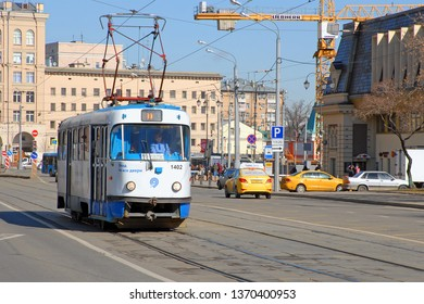 MOSCOW, RUSSIA - MARCH, 2019: Tram 39 route goes down Dubininskaya street in the Paveletsky railway station in Moscow