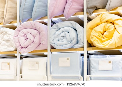 Moscow, Russia - March, 2019: Zara Home Bedding - Colored Blankets And Pillows On Store Shelf. Assortment Of Retail Chain Zara Home. Zara Home is World's Largest Apparel Retailer.