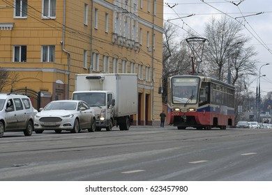Moscow, Russia - March, 22, 2017: Tram in Moscow, Russia