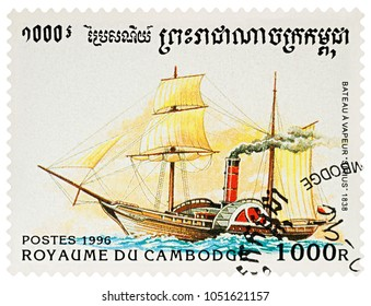 "Moscow, Russia - March 22, 2018: A stamp printed in Cambodia shows old paddle steamer ""Sirius"" (1838), series ""Ships"", circa 1996"
