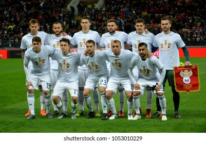 Moscow, Russia - March 23, 2018. National team of Russia before international friendly match against Brazil at Luzhniki stadium in Moscow.