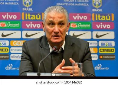 Moscow, Russia - March 23, 2018. Brazil national football team coach Tite at a press conference following international test match Russia vs Brazil at Luzhniki stadium in Moscow.