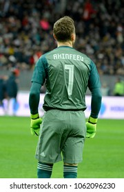 Moscow, Russia - March 23, 2018. Russian goalkeeper Igor Akinfeev during international friendly Russia vs Brazil in Moscow, from the back.