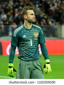 Moscow, Russia - March 23, 2018. Russian national football team goalkeeper Igor Akinfeev during international friendly Russia vs Brazil in Moscow.