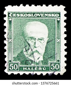 MOSCOW, RUSSIA - MARCH 23, 2019: A stamp printed in Czechoslovakia shows Tomas Garrigue Masaryk (1850-1937), president, serie, circa 1930