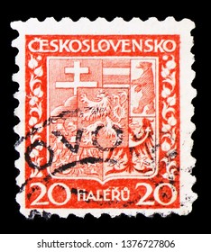 MOSCOW, RUSSIA - MARCH 23, 2019: A stamp printed in Czechoslovakia shows Coat of Arms, circa 1929