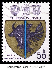 MOSCOW, RUSSIA - MARCH 23, 2019: A stamp printed in Czechoslovakia shows Bystrice over Pernstein, Coats of arms of the Czechoslovak cities serie, circa 1980