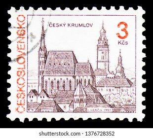 MOSCOW, RUSSIA - MARCH 23, 2019: A stamp printed in Czechoslovakia shows Czech Castle Krumlov, Castles, landscapes and cities serie, circa 1992