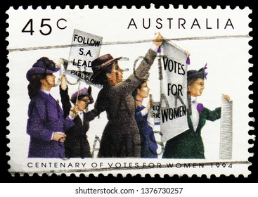 MOSCOW, RUSSIA - MARCH 23, 2019: A stamp printed in Australia shows Suffragettes, Centenary of Women's Suffrage in Australia serie, circa 1994
