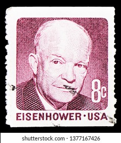 MOSCOW, RUSSIA - MARCH 23, 2019: A stamp printed in shows Dwight David Eisenhower, 1970-1974 Regular Issue serie, circa 1971