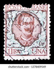 MOSCOW, RUSSIA - MARCH 23, 2019: A stamp printed in Italy shows Effigy of Vittorio Emanuele III and floreal ornaments, Floreal serie, circa 1901