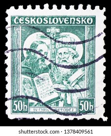 MOSCOW, RUSSIA - MARCH 23, 2019: A stamp printed in Czechoslovakia shows Saints Cyril and Methodius, 1050th death anniversary of St. Methodius serie, circa 1935