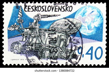 MOSCOW, RUSSIA - MARCH 23, 2019: A stamp printed in Czechoslovakia shows Lunokhod on moon, Space Research serie, circa 1973