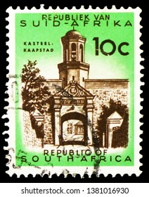 MOSCOW, RUSSIA - MARCH 23, 2019: A stamp printed in South Africa shows Cape Town, castle entrance, Definitive Issue - Decimal Issue serie, circa 1973