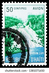 MOSCOW, RUSSIA - MARCH 23, 2019: A stamp printed on Haiti shows Zim Waterfall, serie, circa 1957