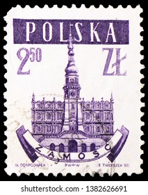 MOSCOW, RUSSIA - MARCH 23, 2019: A stamp printed in Poland shows Zamosc, Town halls serie, circa 1958
