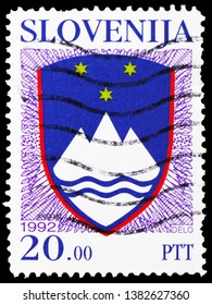 MOSCOW, RUSSIA - MARCH 23, 2019: A stamp printed in Slovenia shows National Arms of the Republic of Slovenia, Coat of arms serie, circa 1992
