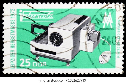 MOSCOW, RUSSIA - MARCH 23, 2019: A stamp printed in Germany, Democratic Republic shows Audiovisual, Leipzig Autumn Fair serie, circa 1972