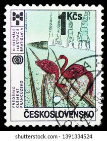 MOSCOW, RUSSIA - MARCH 23, 2019: Postage stamp printed in Czechoslovakia shows Award-winning illustration: Frederic Clement (France), International Year of the Child serie, circa 1987