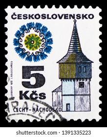 MOSCOW, RUSSIA - MARCH 23, 2019: Postage stamp printed in Czechoslovakia shows Cechy - Nachodsko, Folk Architecture serie, circa 1972