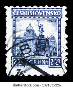 MOSCOW, RUSSIA - MARCH 23, 2019: Postage stamp printed in Czechoslovakia shows Prague, Castles, landscapes and cities  serie, circa 1929