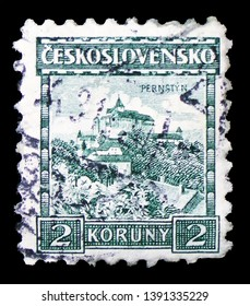 MOSCOW, RUSSIA - MARCH 23, 2019: Postage stamp printed in Czechoslovakia shows Pernstejn castle, Castles, landscapes and cities serie, circa 1929