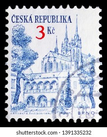 MOSCOW, RUSSIA - MARCH 23, 2019: Postage stamp printed in Czech Republic shows Brno (second largest city), Definitive Issues - Cities serie, circa 1994