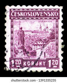 MOSCOW, RUSSIA - MARCH 23, 2019: Postage stamp printed in Czechoslovakia shows Prague, Strahov monastery, Castles, landscapes and cities serie, circa 1927
