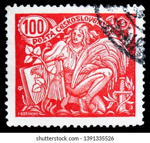 MOSCOW, RUSSIA - MARCH 23, 2019: Postage stamp printed in Czechoslovakia shows Agriculture and Science, serie, circa 1923