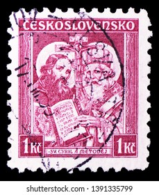MOSCOW, RUSSIA - MARCH 23, 2019: Postage stamp printed in Czechoslovakia shows Sts. Cyril and Methodius, 1050th death anniversary of St. Methodius serie, circa 1935