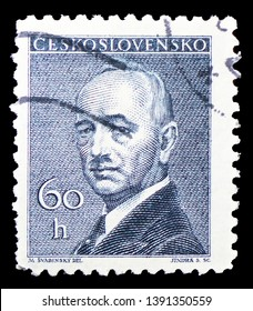 MOSCOW, RUSSIA - MARCH 23, 2019: Postage stamp printed in Czechoslovakia shows Dr. Edvard Benes (1884-1948), president, serie, circa 1946