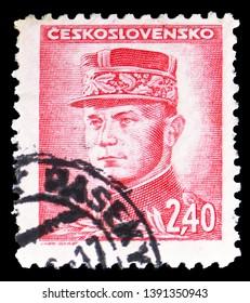 MOSCOW, RUSSIA - MARCH 23, 2019: Postage stamp printed in Czechoslovakia shows Milan Rastislav Stefanik, Portraits serie, circa 1945