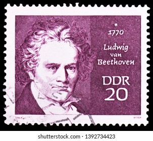 MOSCOW, RUSSIA - MARCH 23, 2019: Postage stamp printed in Germany, Democratic Republic shows Ludwig van Beethoven (1770–1827), Famous People serie, circa 1970